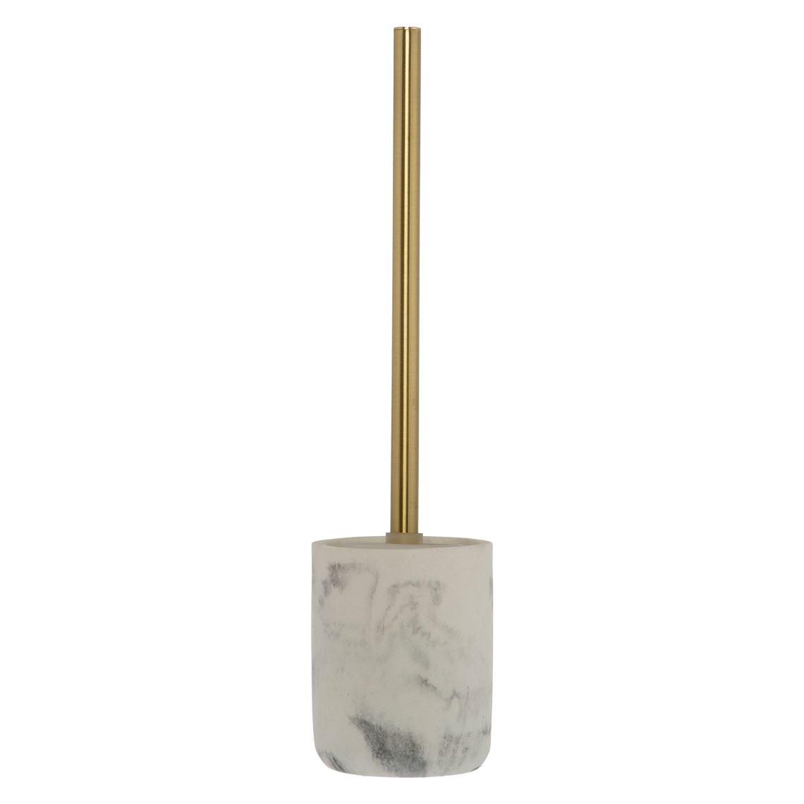 Mersin Toilet Brush Size W 10cm x D 10cm x H 42cm in Marble Effect Freedom