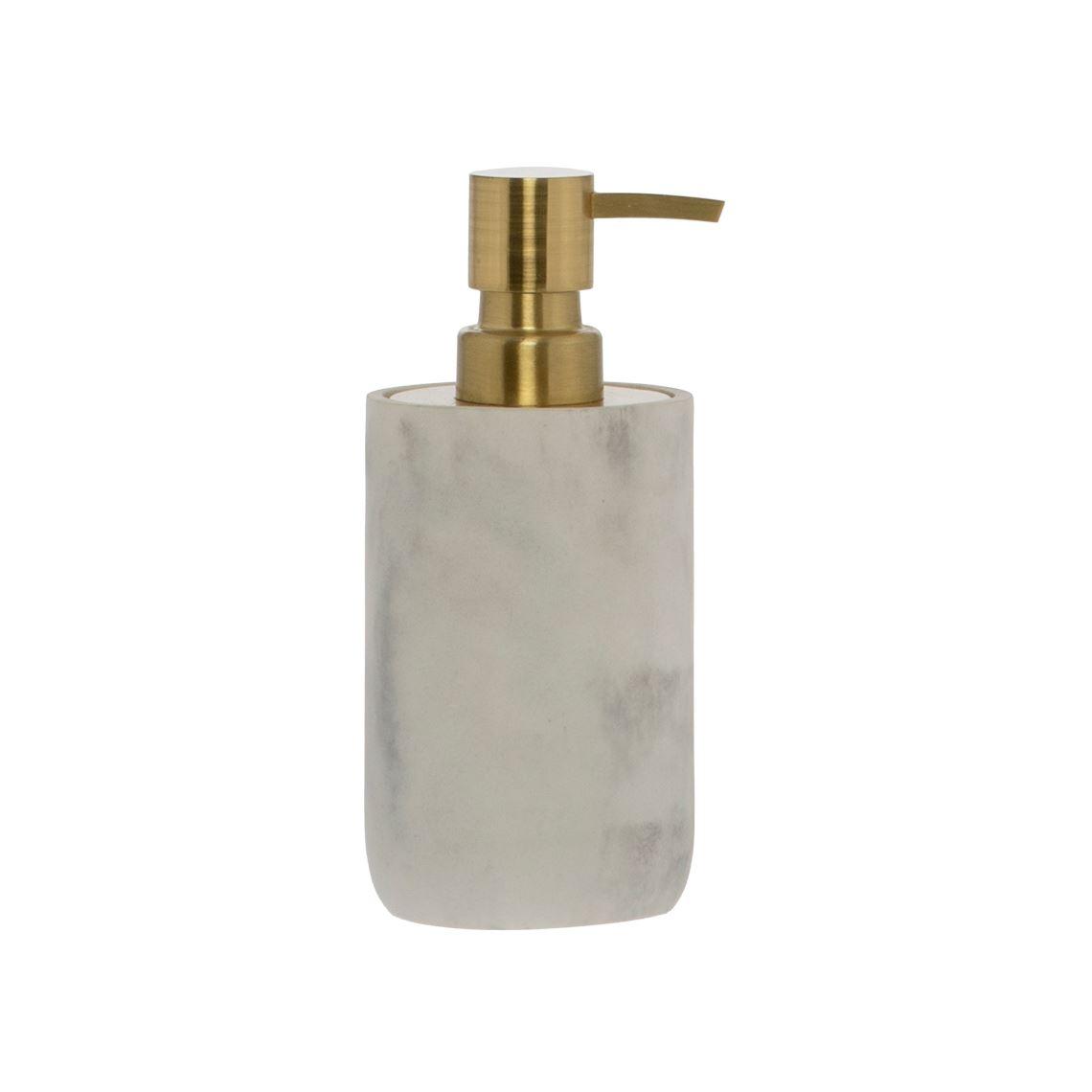Mersin Soap Dispenser Size W 7cm x D 7cm x H 17cm in Marble Effect Freedom