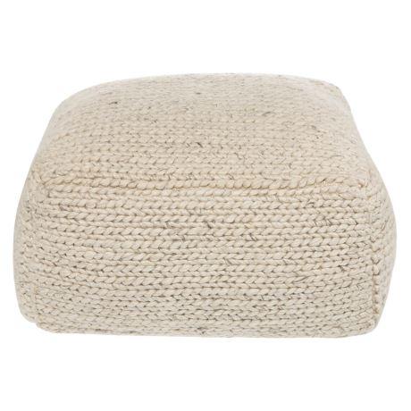 Romain Pouffe Size W 65cm x D 65cm x H 30cm in Ivory Wool/Viscose Freedom