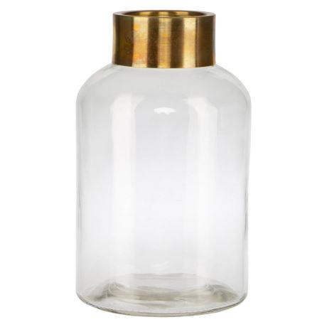 Linley Vase, Colour Size W 17cm x D 17cm x H 30cm in Gold Glass/Iron Freedom