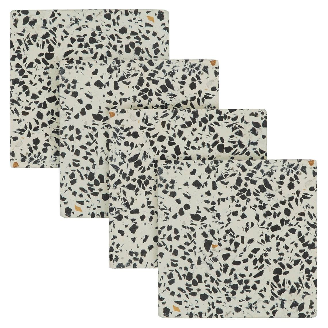 Terrazzo Set Of 4 Coasters Size W 10cm x D 10cm x H 1cm in Black/White Freedom