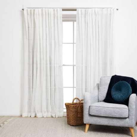 Shelby Curtain Size W 140cm x D 1cm x H 230cm in White 100% Polyester Freedom