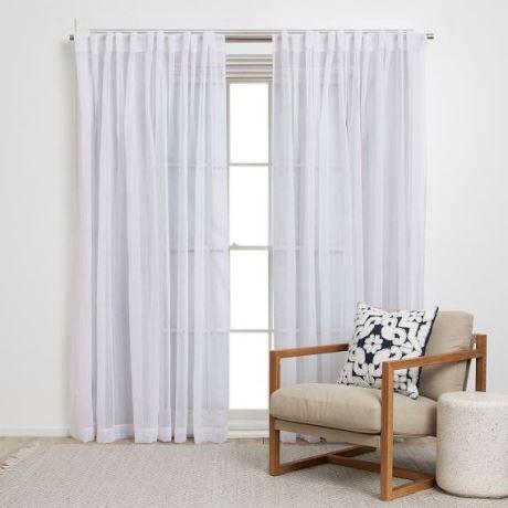 Vito Curtain Size W 180cm x D 1cm x H 250cm in White 100% Polyester Freedom