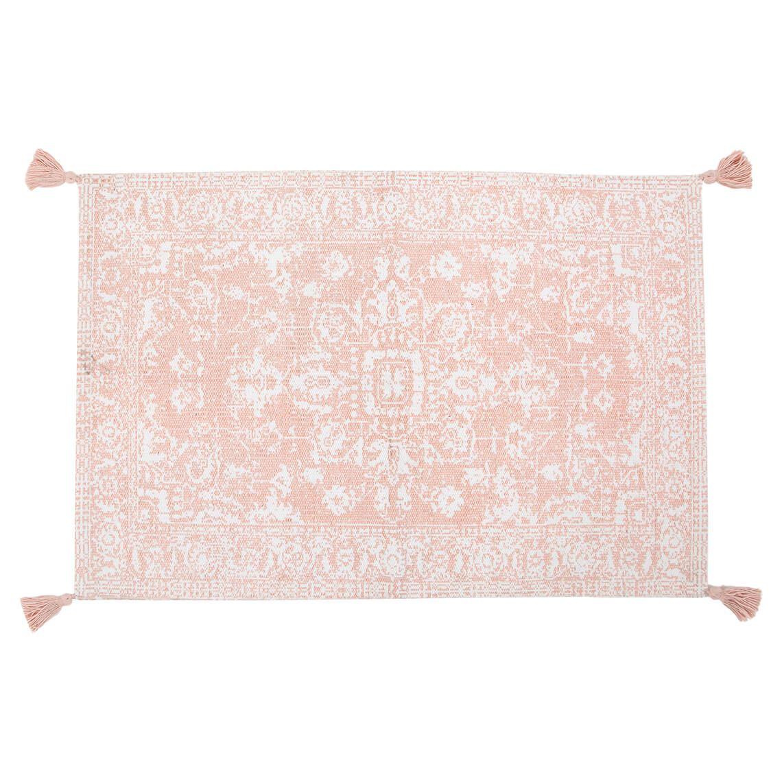 Belair Floor Floor Mat Size W 60cm x D 90cm x H 1cm in Rose Smoke 100% Cotton Freedom