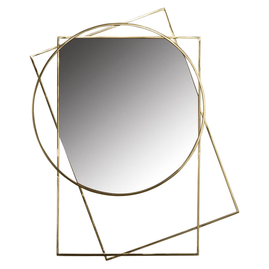 Shapely Mirror Colour Size W 65cm x D 2cm x H 80cm in Gold Steel/Glass Freedom