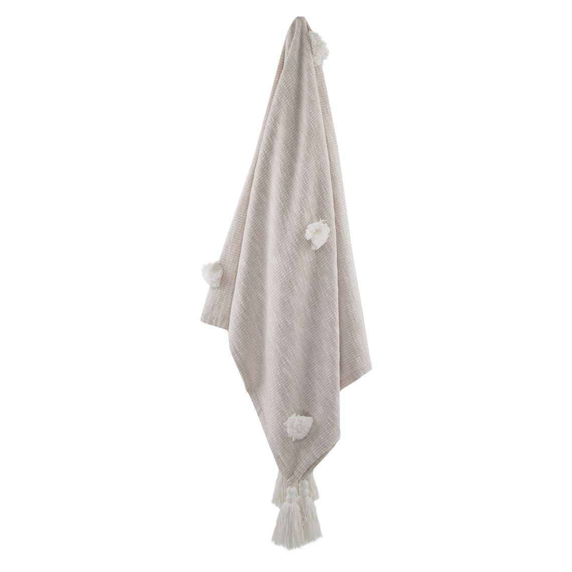 Yuina Throw Size W 130cm x D 170cm x H 2cm in Moonbeam 100% Cotton Freedom