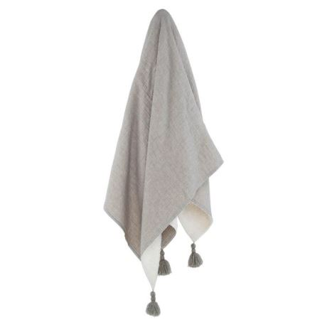 Josette Throw Size W 130cm x D 150cm x H 1cm in Grey/White Cotton/Linen/Polyester Freedom
