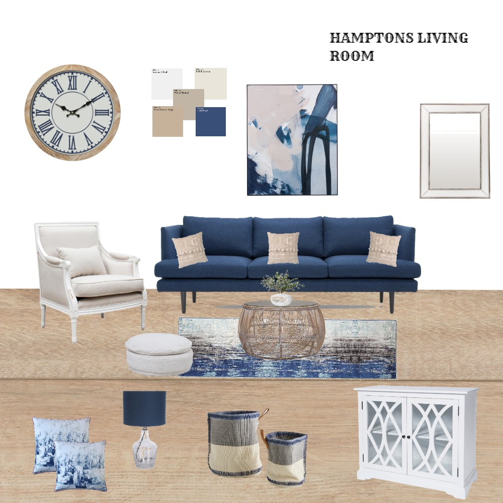 Hamptons living room Interior Design Mood Board by Nadeen Odeh on Style Sourcebook