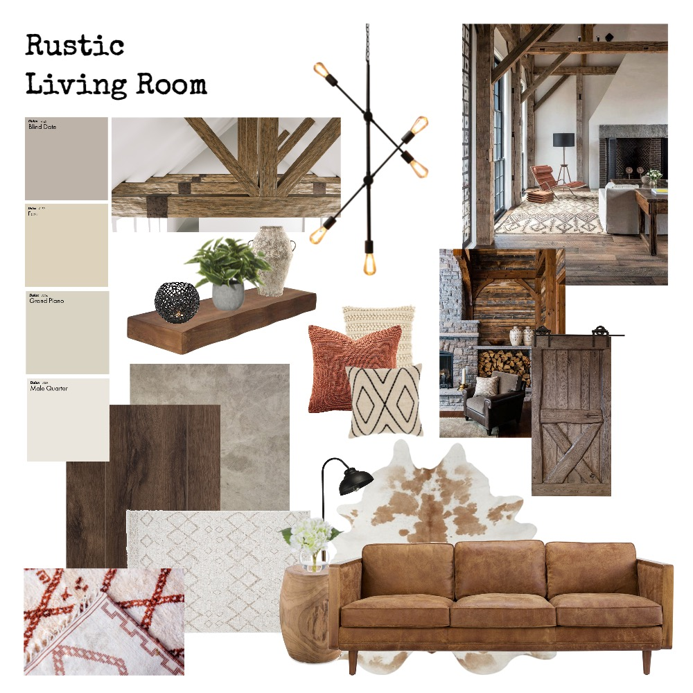 Rustic Living Room Interior Design Mood Board by Tanja on Style Sourcebook
