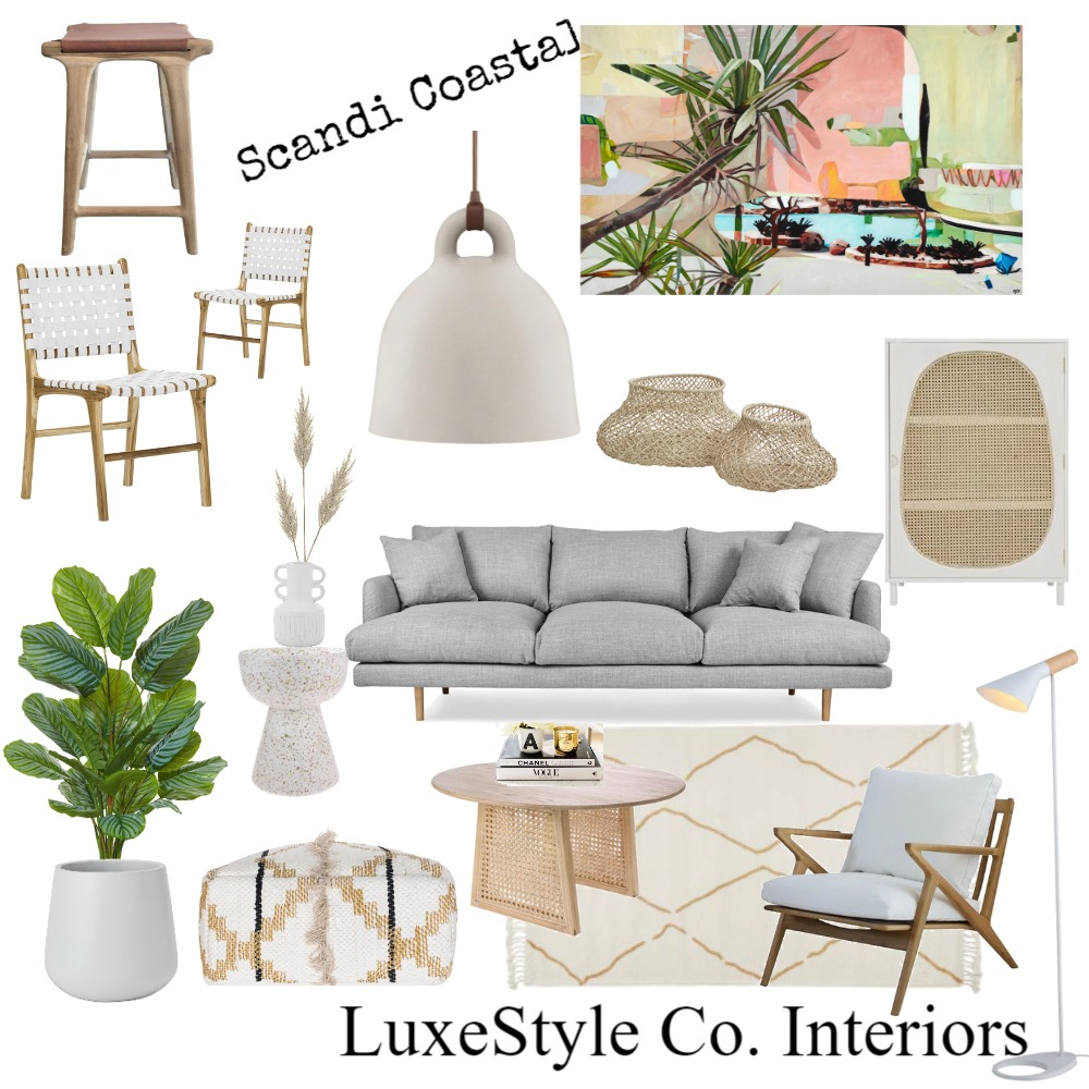 Scandi Coastal Leather Interior Design Mood Board by Luxe Style Co. on Style Sourcebook