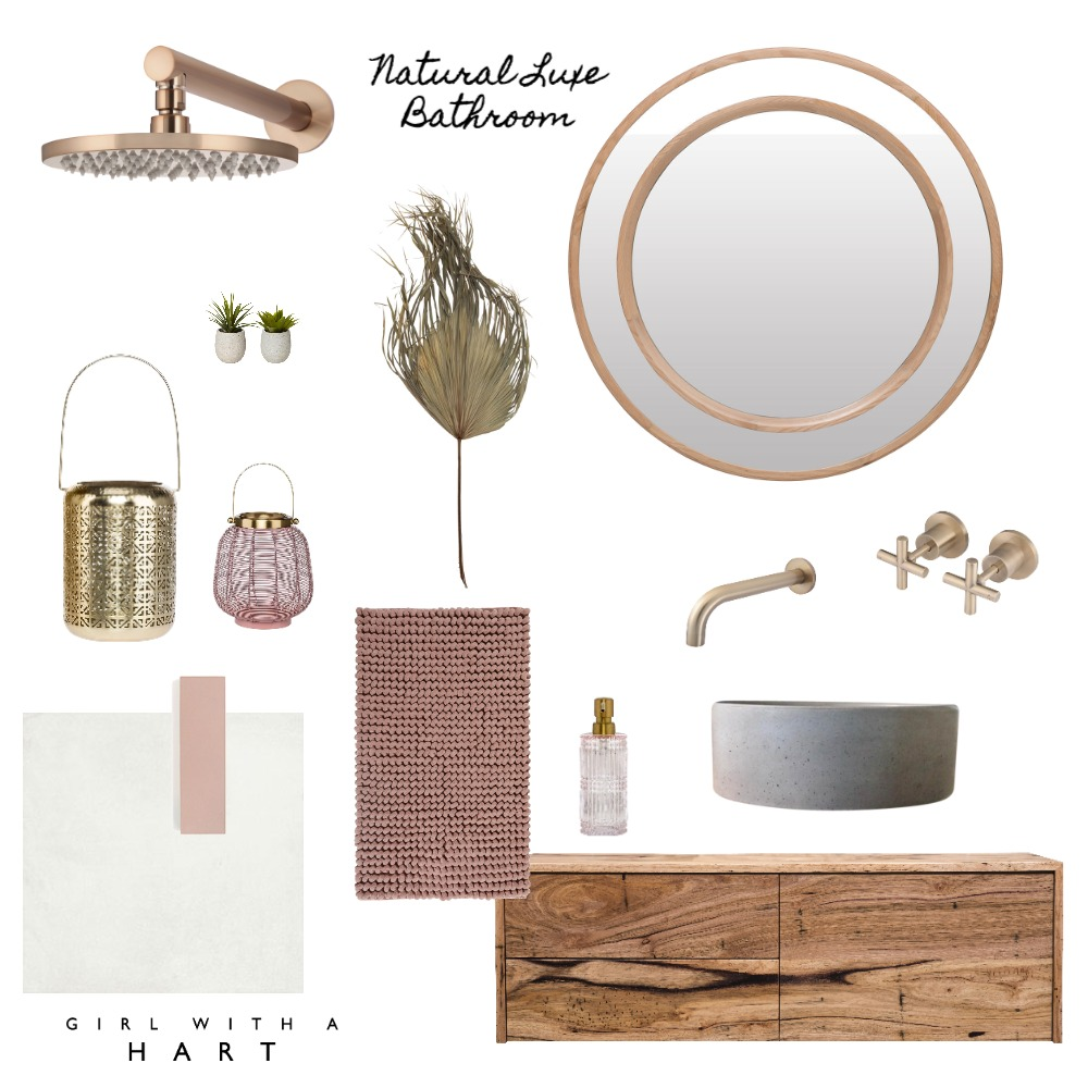 Natural Luxe Bathroom Interior Design Mood Board by Girl with a Hart Interiors on Style Sourcebook