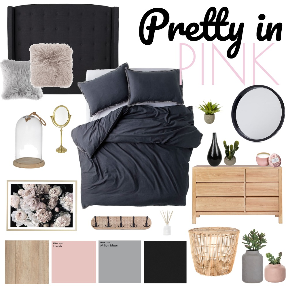 Blush & Black Bedroom Interior Design Mood Board by kjawnointeriors on Style Sourcebook