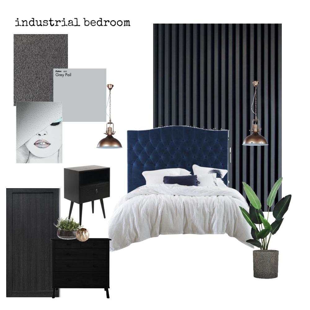 industrial bedroom Interior Design Mood Board by Charming Interiors by Kirstie on Style Sourcebook