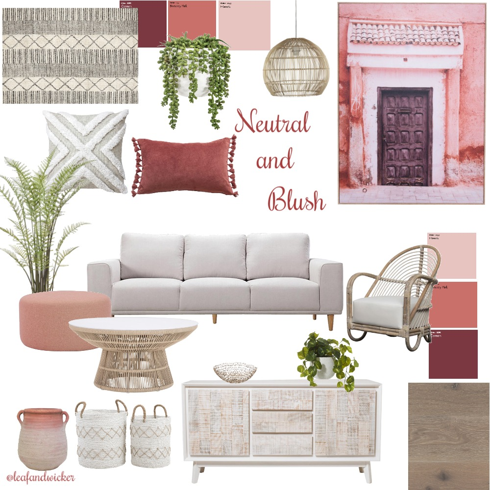 Neutral and pinks Interior Design Mood Board by @leafandwicker on Style Sourcebook