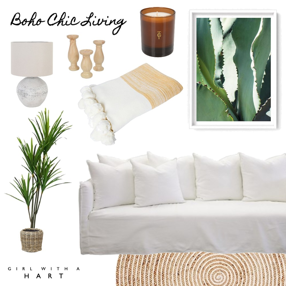 Boho Chic Living Interior Design Mood Board by Girl with a Hart Interiors on Style Sourcebook