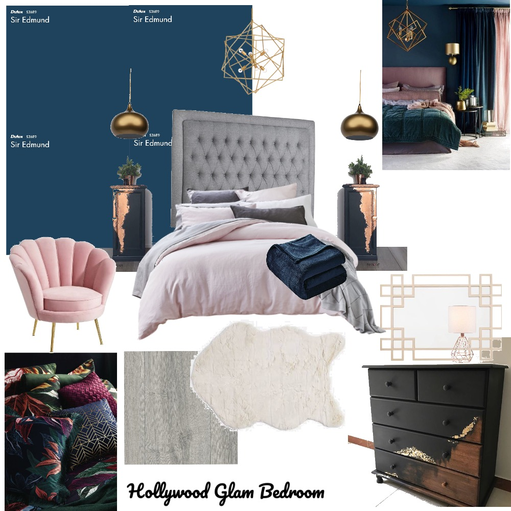 Hollywood Glam Bedroom Interior Design Mood Board by NV Creative Spaces on Style Sourcebook
