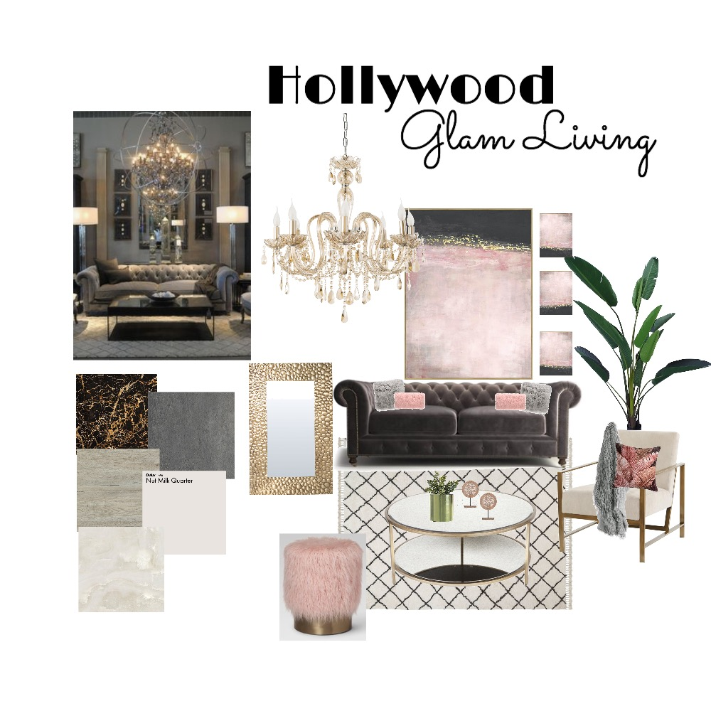 Hollywood Glam Living (Mod 3) Interior Design Mood Board by MicheleA64 on Style Sourcebook