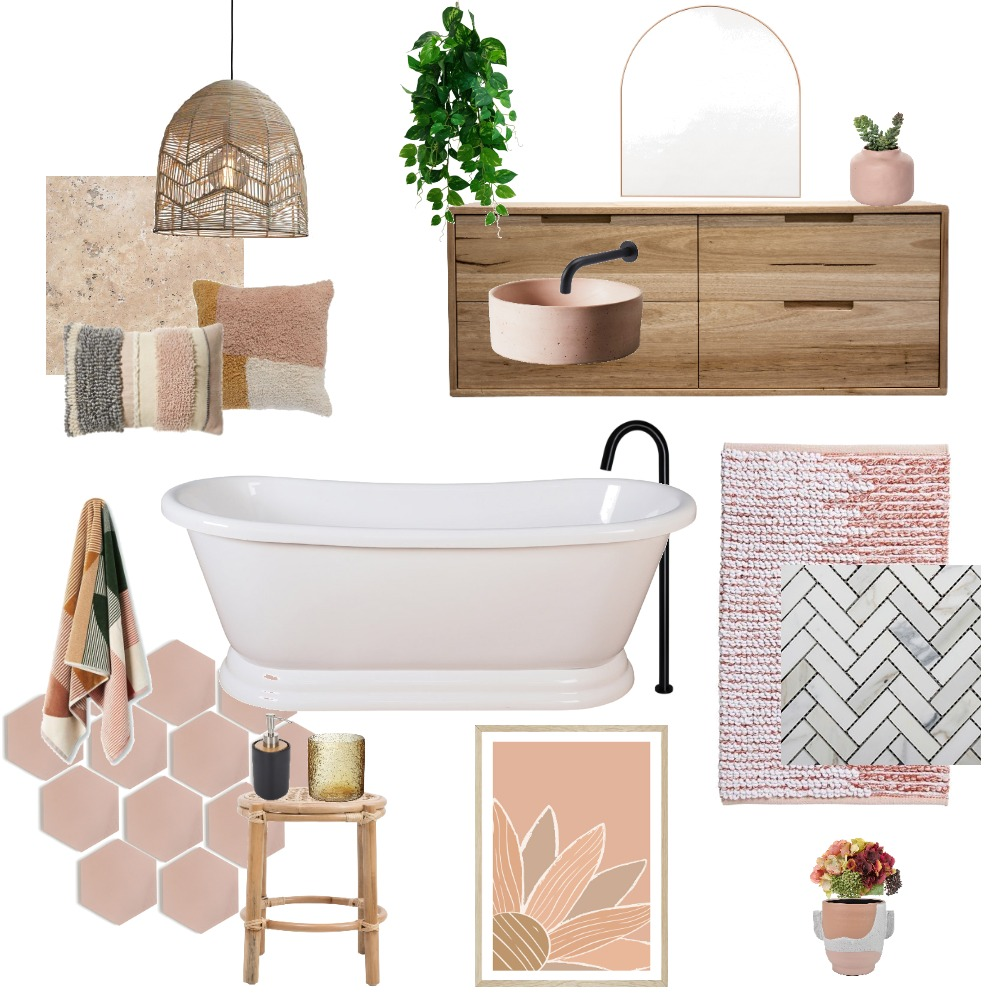 Luxury boho bathroom with a touch of feminism Interior Design Mood Board by Rhea Panizon Interiors on Style Sourcebook
