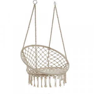 Madrid Macrame Cotton Hammock Chair Colour: Cream by Temple & Webster, a Hammocks for sale on Style Sourcebook