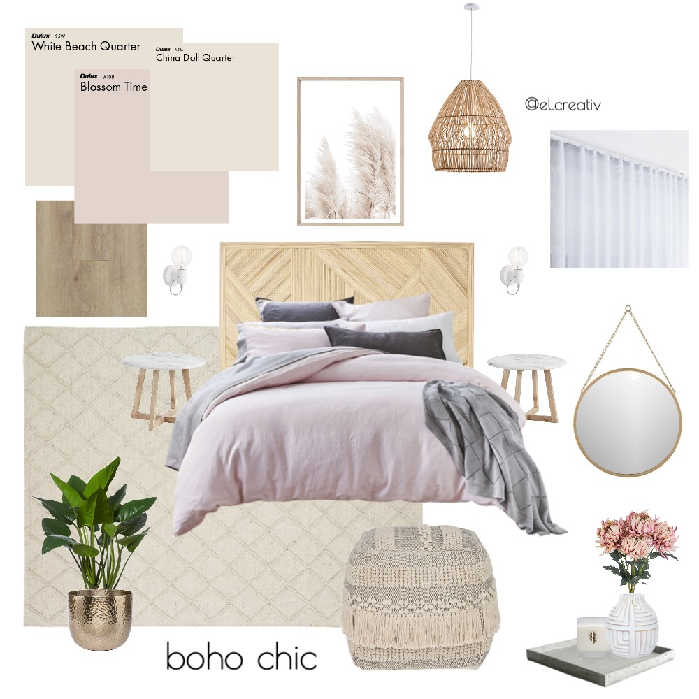 Boho Chic Interior Design Mood Board by el.creativ on Style Sourcebook
