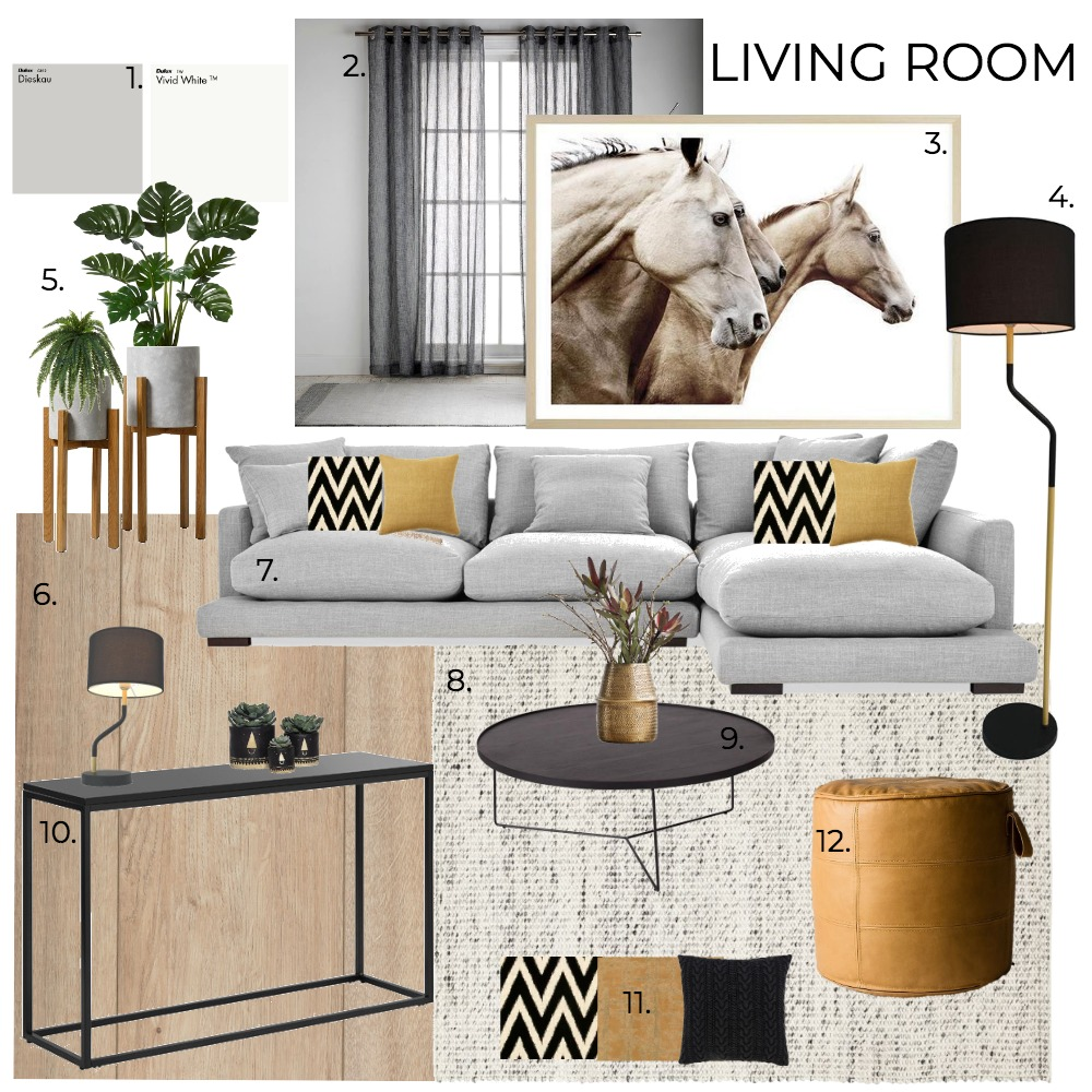 A9 LIVING ROOM Interior Design Mood Board by Genie on Style Sourcebook