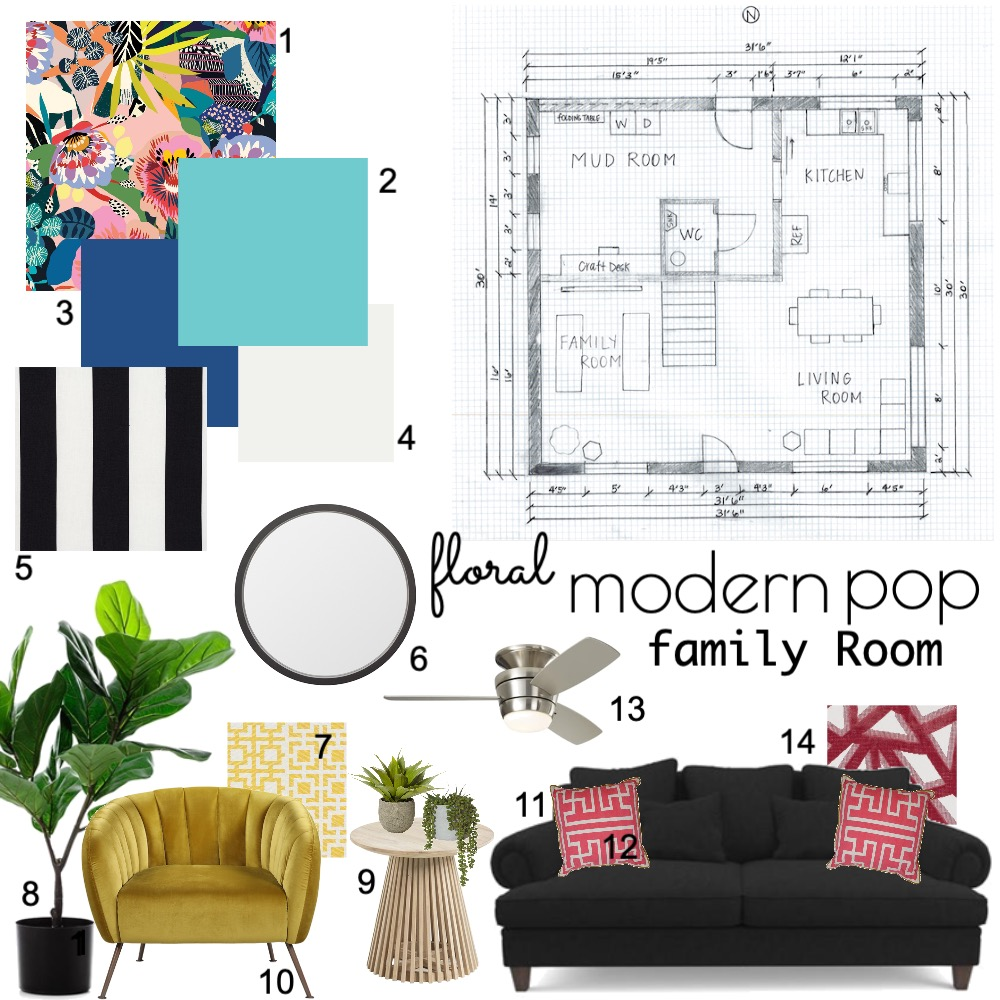 Floral Modern Pop Interior Design Mood Board by Lyn.designs on Style Sourcebook