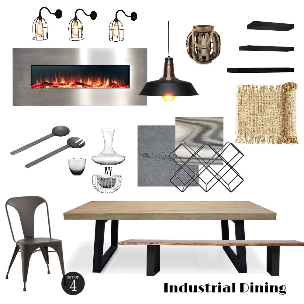 Industrial Dining Interior Design Mood Board by MerakiDesire on Style Sourcebook
