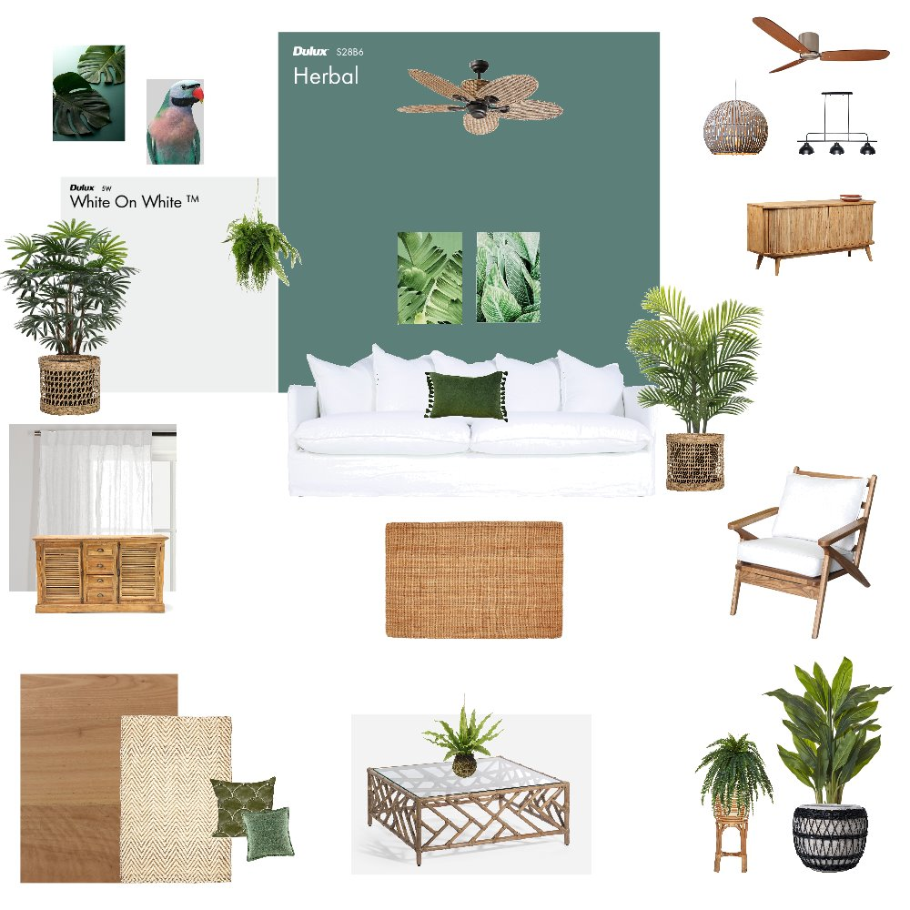 Tropical Living Room Interior Design Mood Board by njparker@live.com.au on Style Sourcebook