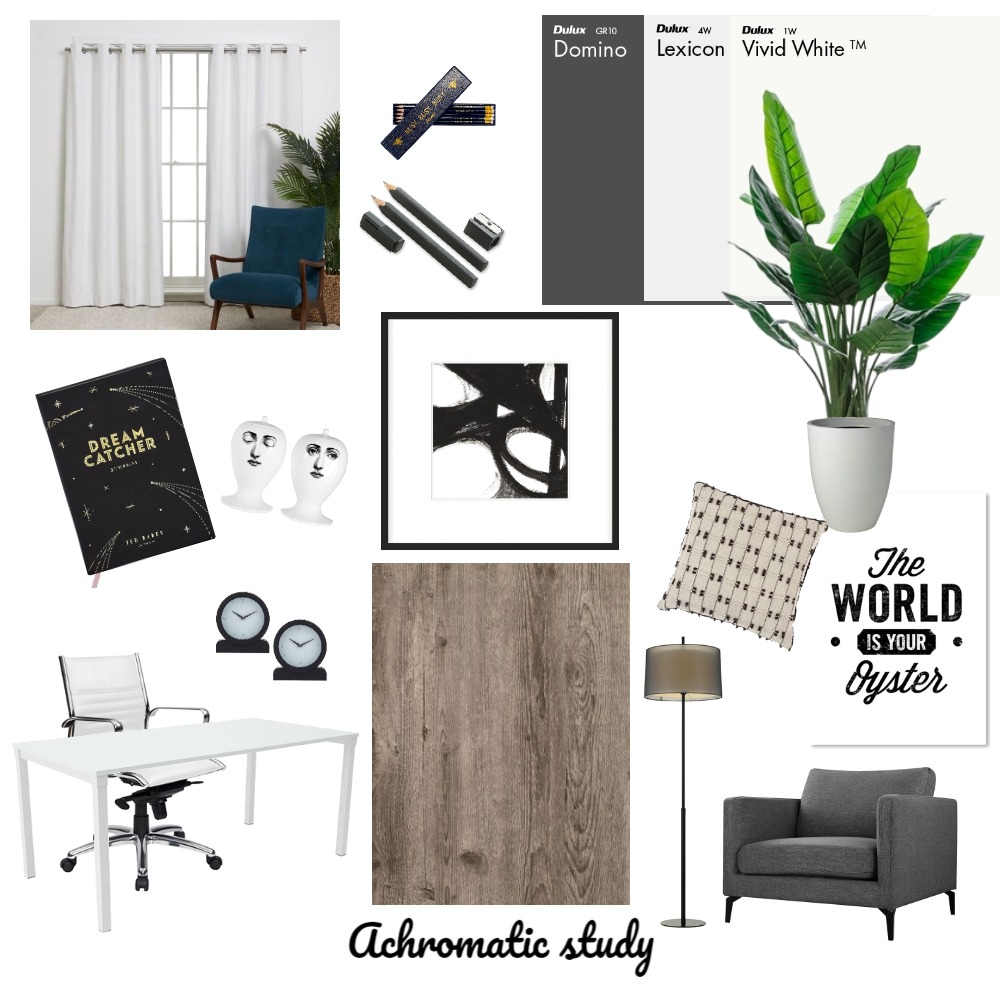 Achromatic study Interior Design Mood Board by Harford Jo Interiors on Style Sourcebook