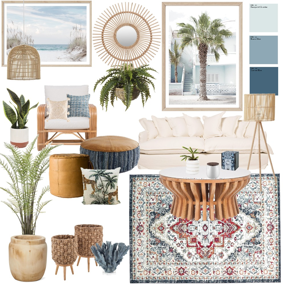 Boho blues Interior Design Mood Board by @leafandwicker on Style Sourcebook