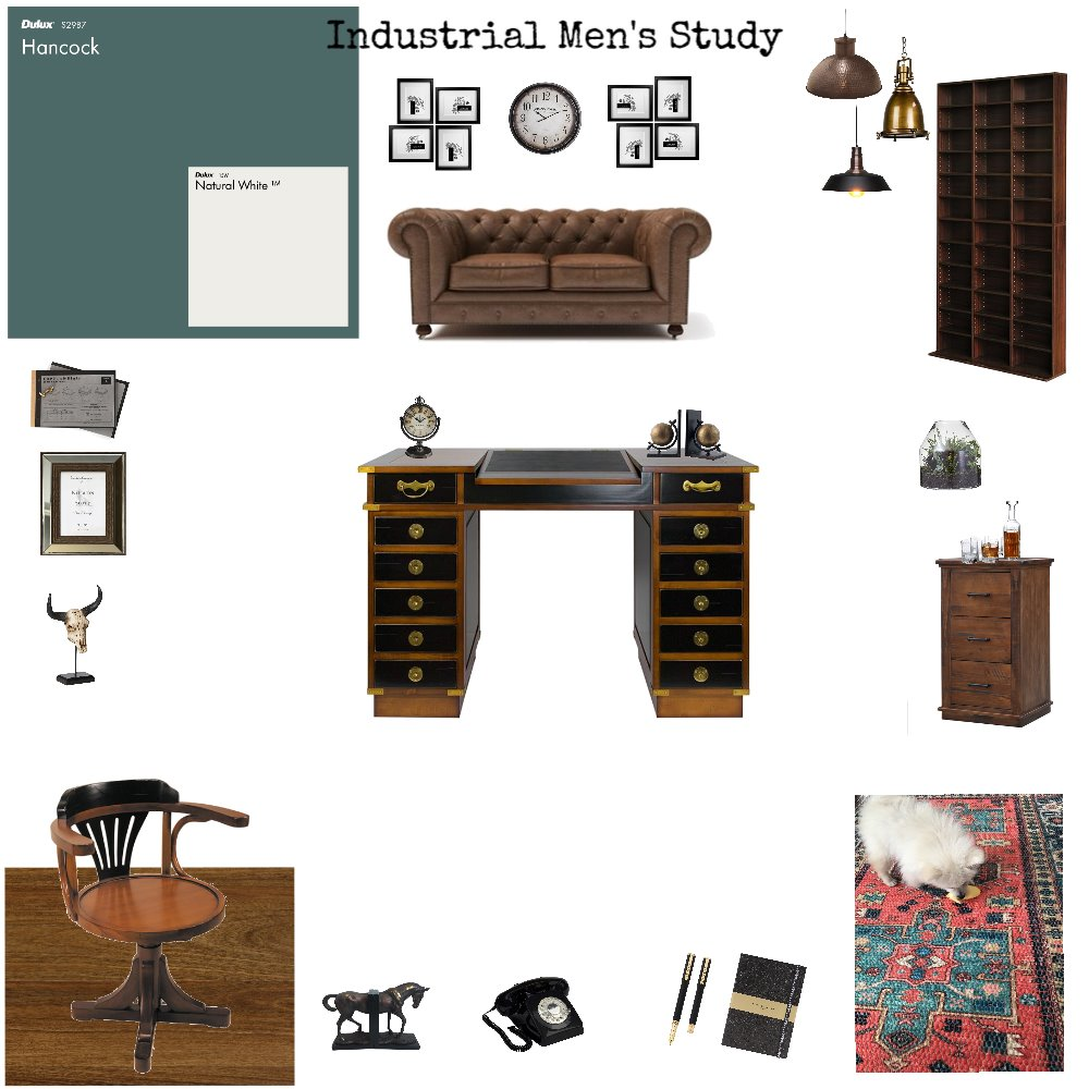 Industrial Men's Study Interior Design Mood Board by njparker@live.com.au on Style Sourcebook