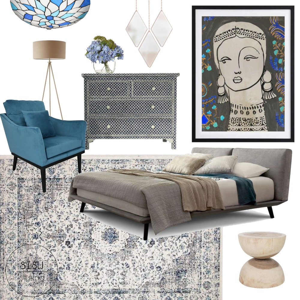 art deco moody bedroom Interior Design Mood Board by Sisu Styling on Style Sourcebook
