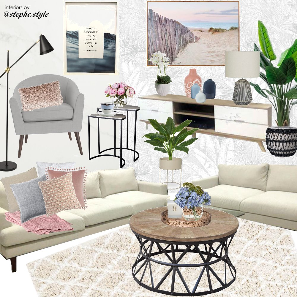 living room blue pink white black Interior Design Mood Board by stephc.style on Style Sourcebook