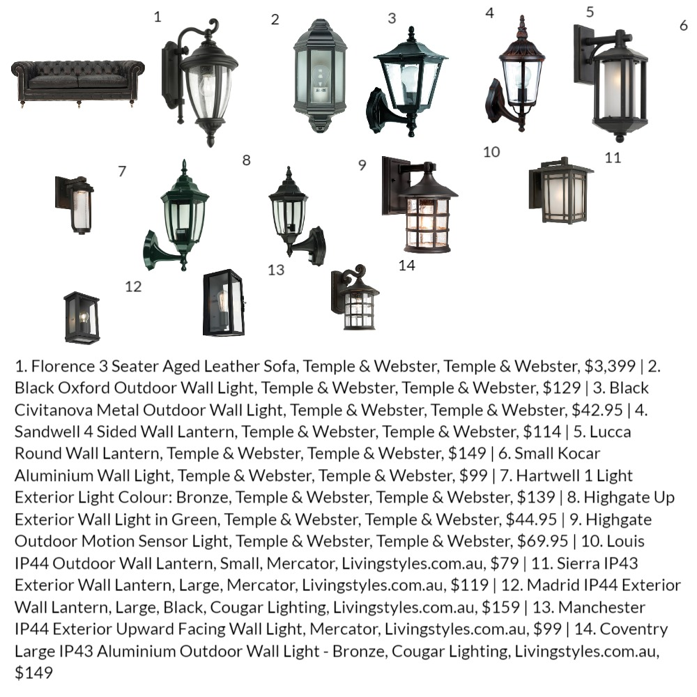 Outdoor Front Portico Lights Black Interior Design Mood Board by savvygirl1504 on Style Sourcebook
