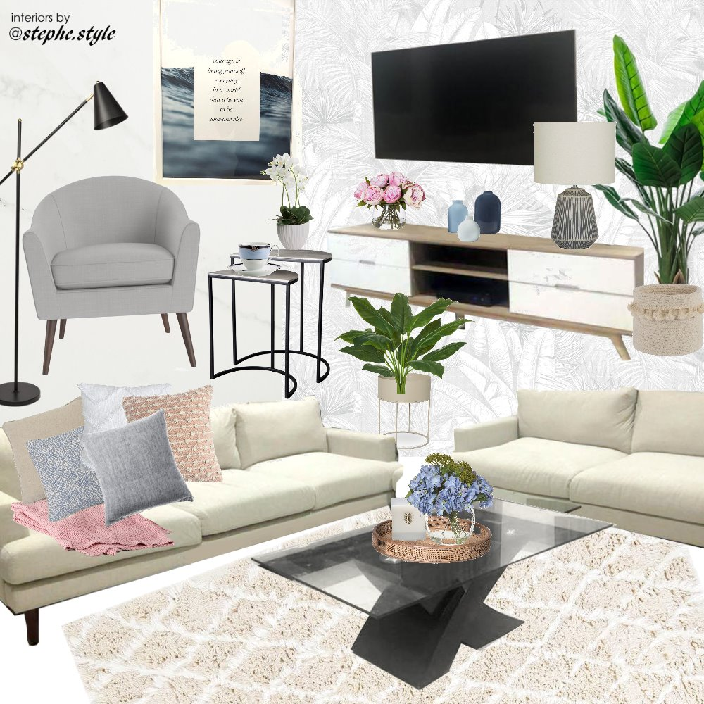 living room blue pink white black with tv Interior Design Mood Board by stephc.style on Style Sourcebook