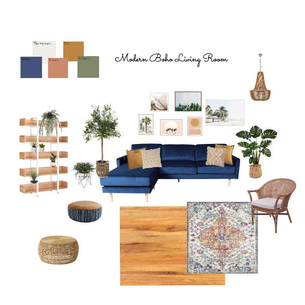 Modern Boho Living Room Interior Design Mood Board by jreaume on Style Sourcebook