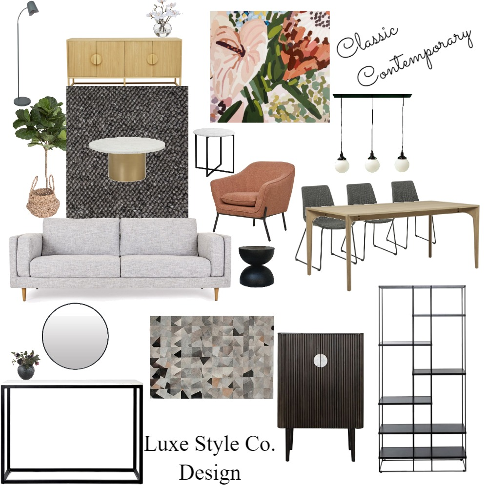 Classic Contemporary Living Room Interior Design Mood Board by Luxe Style Co. on Style Sourcebook