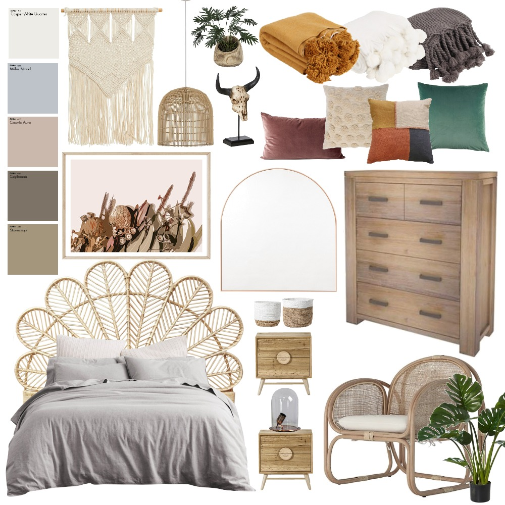 Boho Master Bedroom Interior Design Mood Board by Roetiby Kate-Lyn on Style Sourcebook