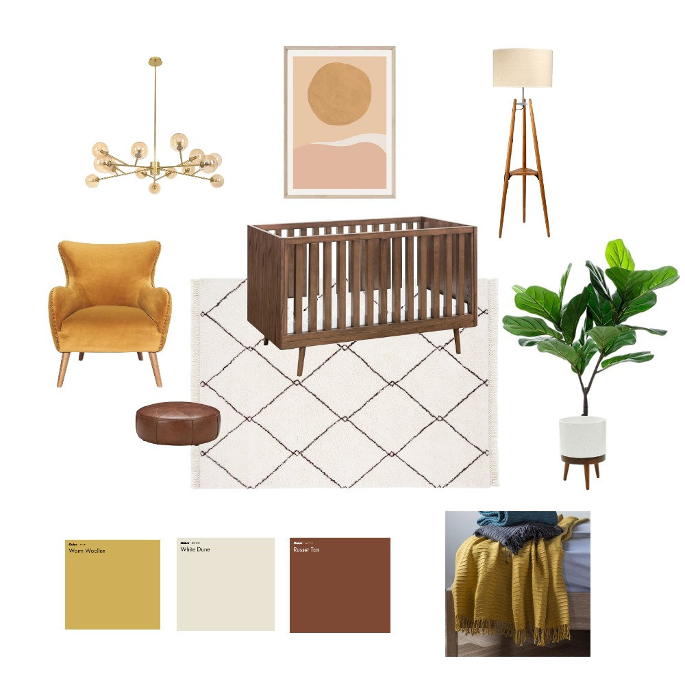 Mid-Century Modern Nursery Interior Design Mood Board by mbdp on Style Sourcebook