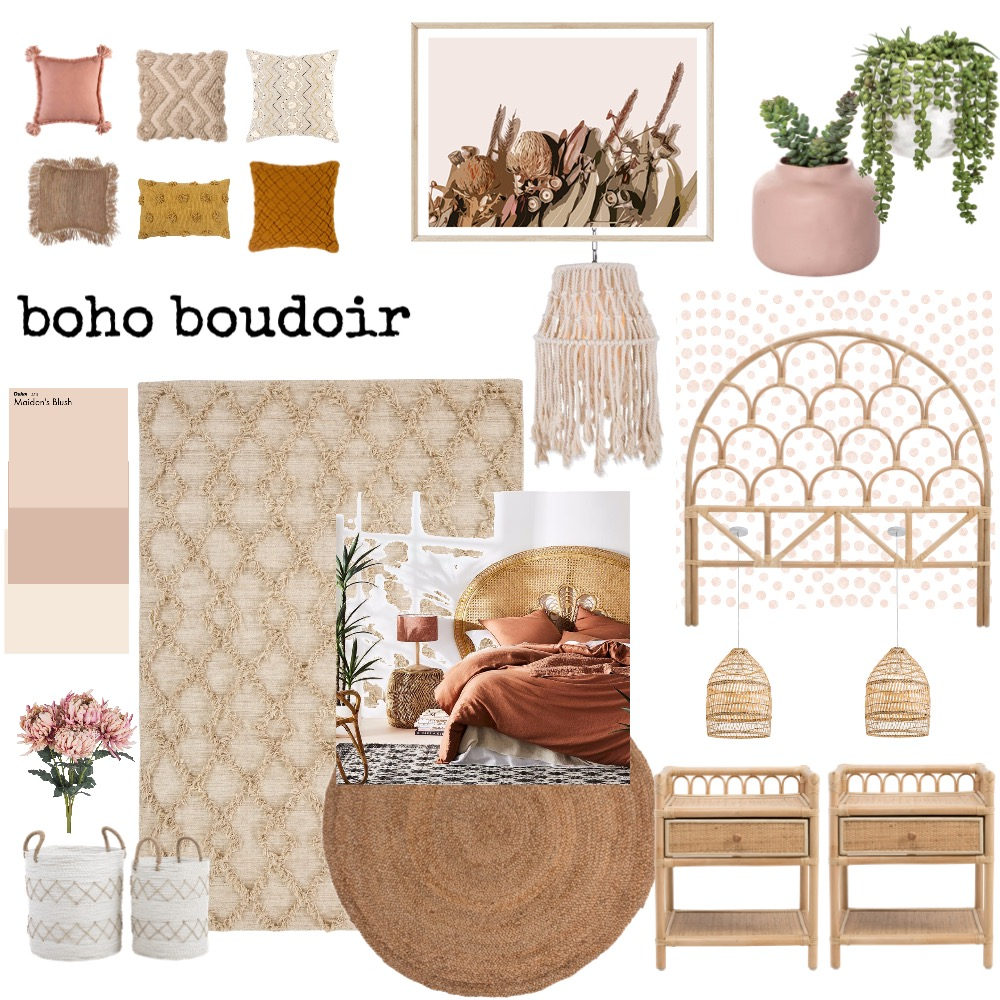 Boho Boudoir Interior Design Mood Board by Copper & Tea Design by Lynda Bayada on Style Sourcebook