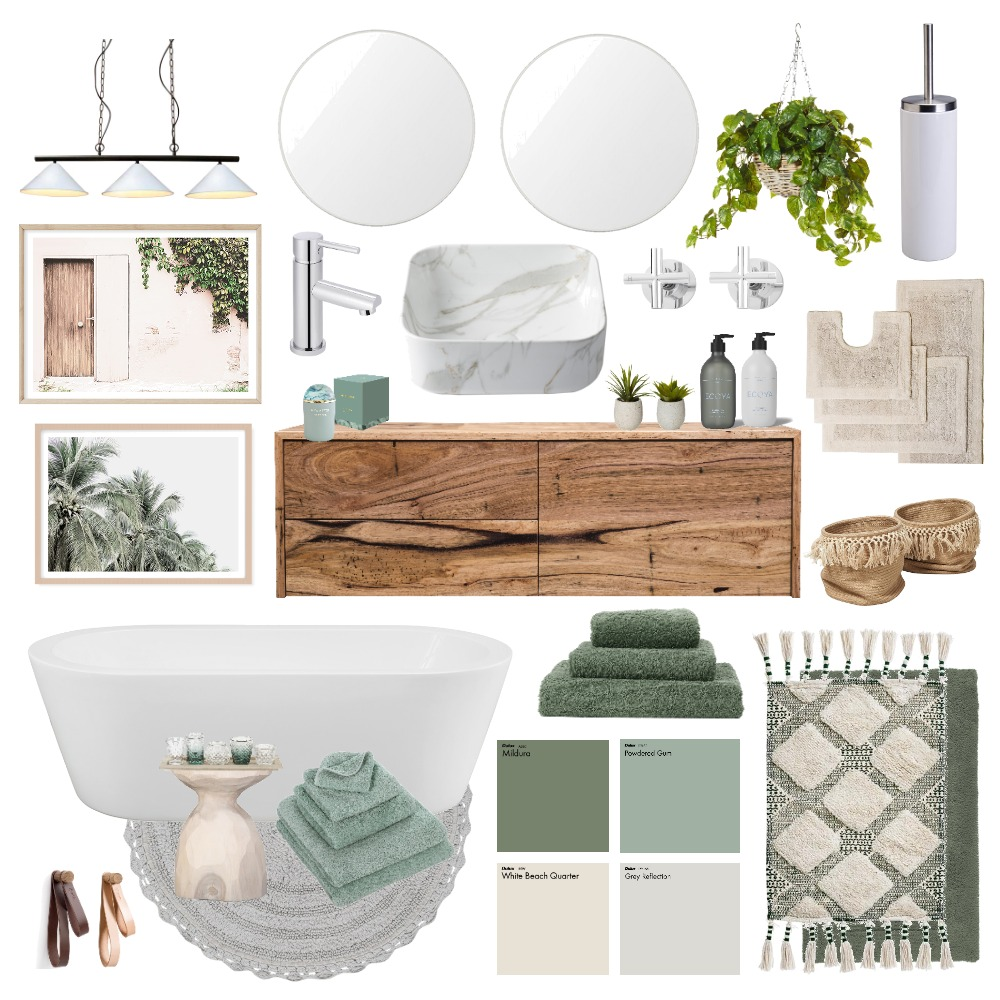 Green on green bathroom vibes Interior Design Mood Board by Happy Nook Interiors on Style Sourcebook