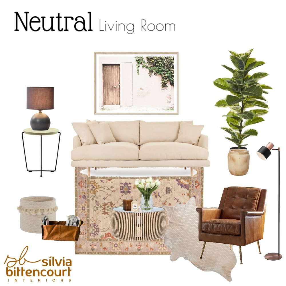 Neutral Living Room Interior Design Mood Board by Silvia Bittencourt on Style Sourcebook