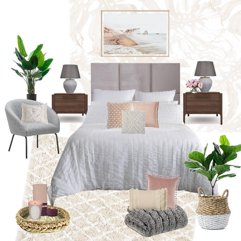 bedroom pinks white grey Interior Design Mood Board by stephc.style on Style Sourcebook