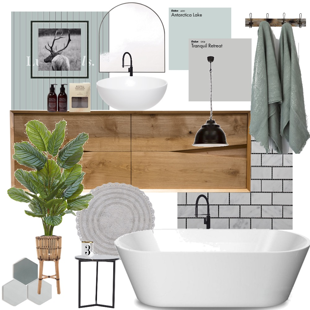 modern farmhouse bathroom Interior Design Mood Board by brookeshawl on Style Sourcebook
