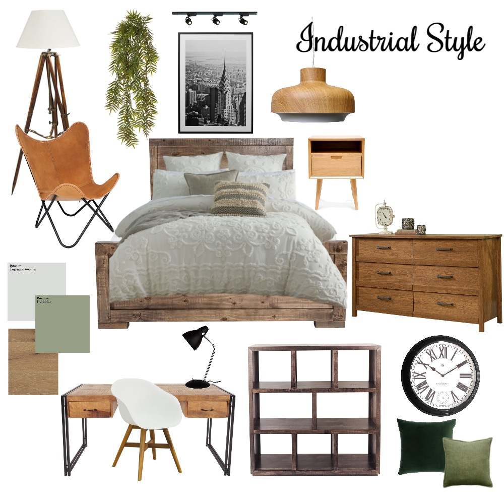 industrial bedroom-1 Interior Design Mood Board by natalie kang on Style Sourcebook
