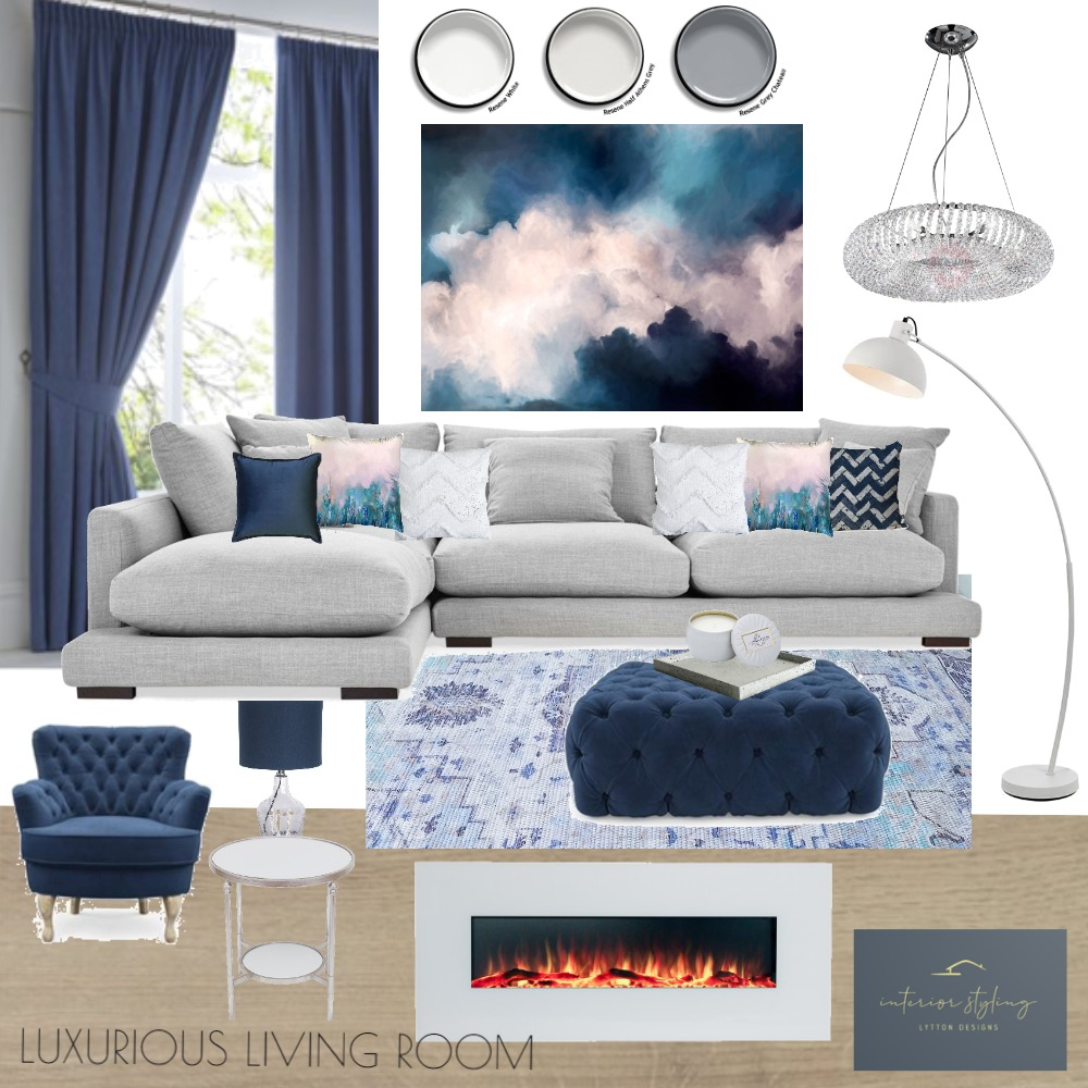 Elegant Blue Living Room Interior Design Mood Board by Lytton Designs on Style Sourcebook