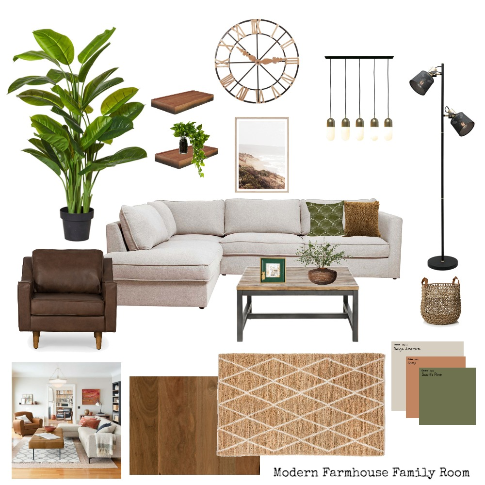 Modern Farmhouse Family Room Interior Design Mood Board by CAquilino on Style Sourcebook