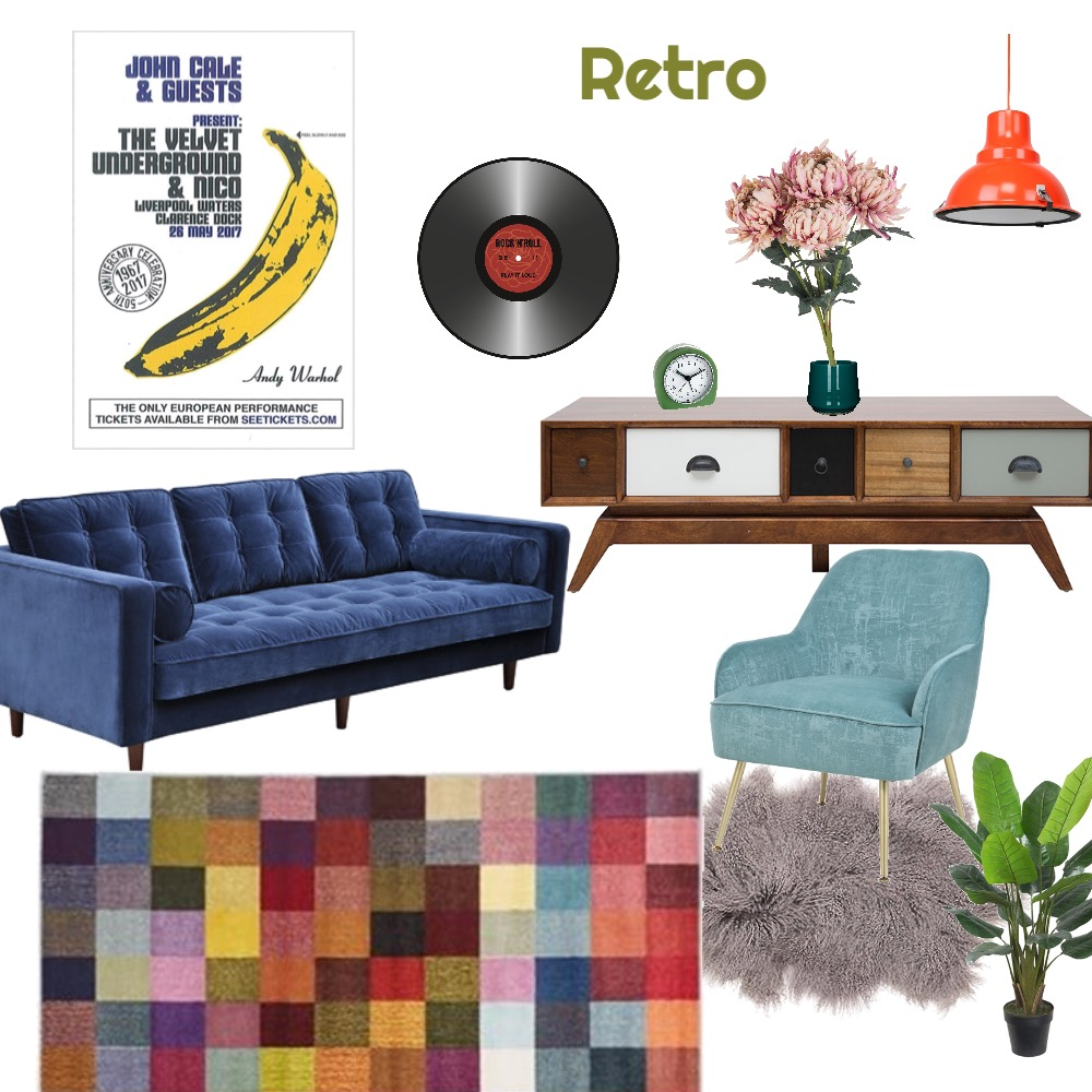 Retro Interior Design Mood Board by Rita Wong on Style Sourcebook