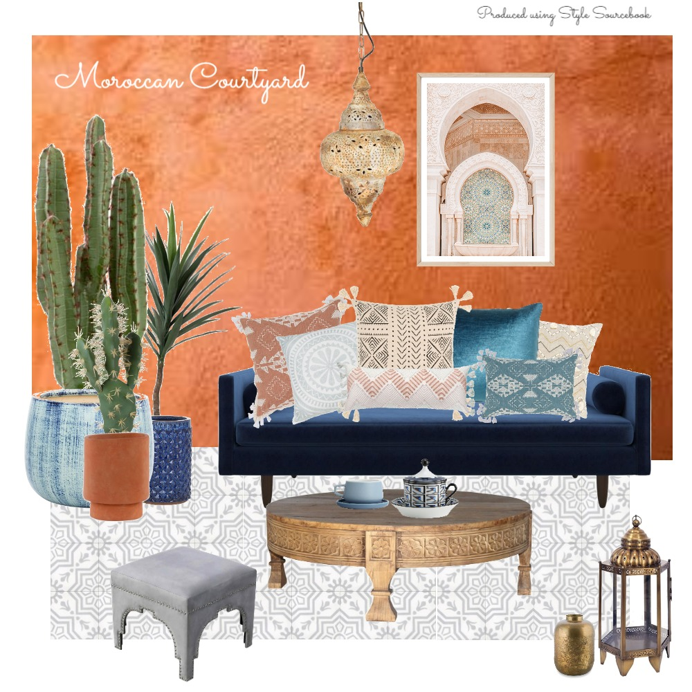 Moroccan Courtyard Interior Design Mood Board by Kim Bongers on Style Sourcebook