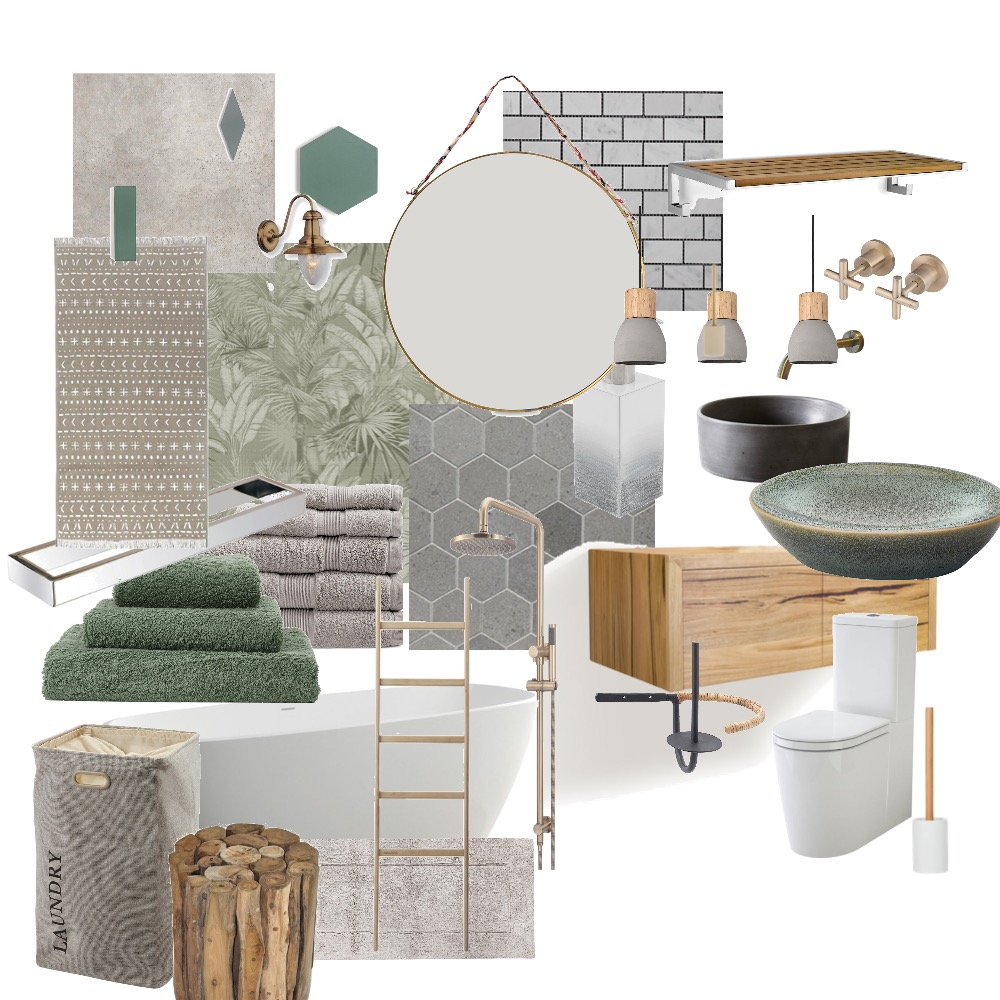 Concrete Jungle - Bathroom Interior Design Mood Board by Noviana's Interiors on Style Sourcebook